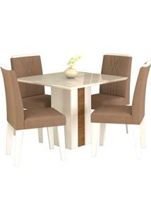 Sala De Jantar Rafaela 95 Cm Com 4 Cadeiras Savana/Branco Pluma