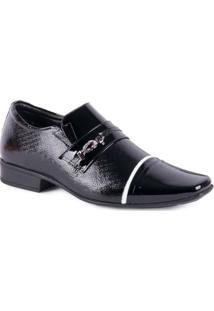 Sapato Jota Pe Social Com Fivela - Masculino-Preto+Branco