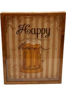 Quadro Porta Tampinhas E Lacres Prolab Happy Hour Tabaco - Amarelo/Marrom/Preto - Dafiti