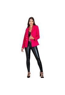 Blazer Botões Dourados Feminino Estilo Balmain Top Qualidade Acinturado Moderna Rosa