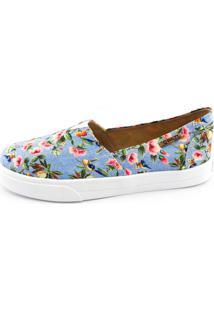 Tênis Slip On Quality Shoes Jeans Floral Feminino - Feminino-Azul 51252b421e20f