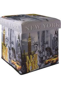 "Puff Box ""New York""- Cinza & Amarelo- 39X39X39Cmfalkk"