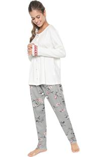 Pijama Pzama Estampado Off-White/Preto
