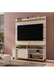 Estante Para Home Theater E Tv Até 52 Polegadas Pérola Off White E Cinamomo