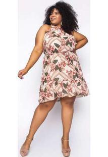 Vestido Almaria Plus Size Kayla Tavira Estampado Areia Bege