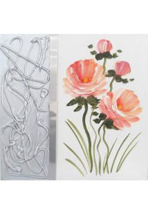 Quadro Artesanal Com Textura Rosas Tom Pastel 30X30Cm Uniart