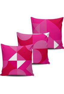 Kit 3 Capas Almofadas Formas Geometricas Rosa 45X45Cm - Multicolorido - Dafiti