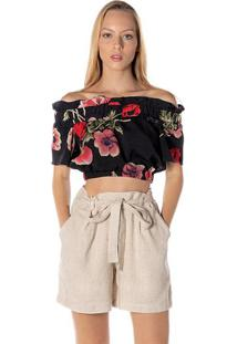 Blusa Cropped Ciganinha Floral - Preta & Vermelhadwz