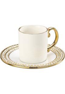 Conjunto 12 Pçs Xicaras De Café Porcelana Charme 100Ml Branco E Dourado