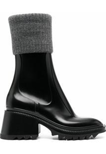Chloé Ankle Boot De Tricô - Preto