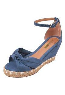 Sandália Uzze Sapatos Anabela Confort Laço Azul