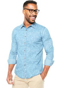 Camisa Jeans Red Nose Estampada Azul
