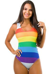 Body Kaisan Sublimado Cavado Nas Costas Rainbow Strips