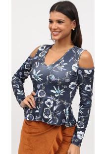 Blusa Com Ombros Vazados - Azul Marinho & Branca - Ttriton