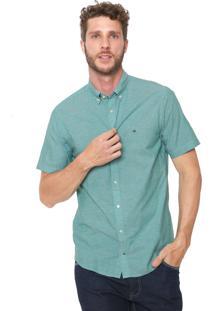 Camisa Tommy Hilfiger Reta Logo Verde