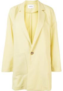 Enföld Blazer Oversized Com Abotoamento Simples - Amarelo