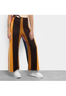 bb12d16ea Calça Pantalona Cantão Listrada Cintura Alta Feminina - Feminino-Estampado