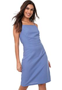 Vestido Linho Mercatto Curto Liso Azul