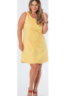 Vestido Almaria Plus Size Munny Curto Liso Amarelo