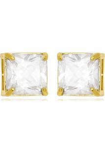 Brinco Quadradinho Cristal Di Capri Semi Jóias X Ouro Ou Ouro Branco Dourado