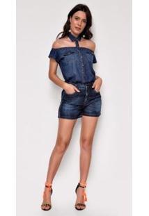 Bermuda Jeans Zait Daniela Feminina - Feminino-Azul