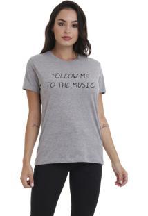 Camiseta Jay Jay Bã¡Sica Follow Me Cinza Mescla Dtg - Cinza - Feminino - Dafiti