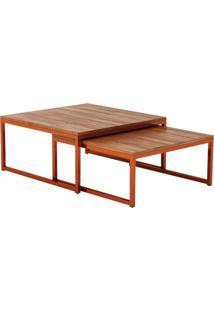Mesa De Centro Quadrado Catarina Wood Cobre E Preta