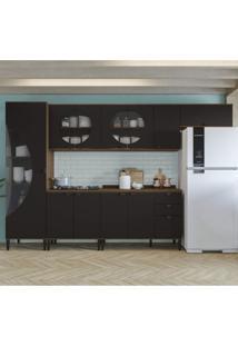 Cozinha Compacta Com Tampo 6 Peças Pop Kappesberg Jacarandá/Preto