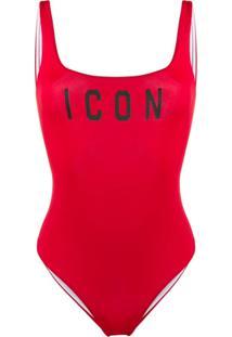 Dsquared2 Beachwear Maiô Com Estampa Icon - Vermelho