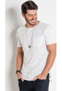 Camiseta Branca E Geométrica Actual