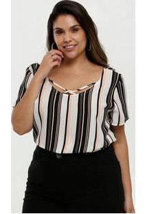 Blusa Feminina Chiffon Listrada Strappy Plus Size Marisa
