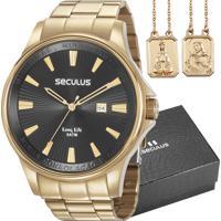 733b322d43a Kit Relógio Seculus Masculino Com Escapulário 35001Gpskda1K1