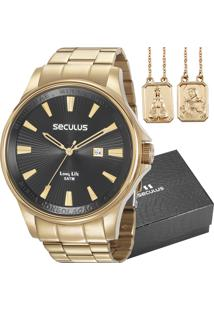 514a8411e8e Eclock. Relógio Masculino Seculus Long Life Clock Aço Dobrável Analógico Kit  ...