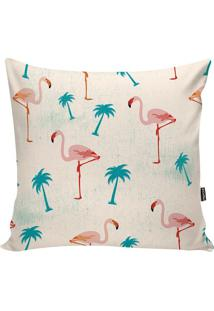 Capa De Almofada Flamingos- Off White & Rosa- 42X42Cstm Home