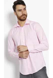 Camisa Slim Com Bordado- Rosa Claroaleatory