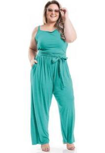 Macacão Viscolycra Com Amarração Miss Masy Plus Size - Feminino-Verde