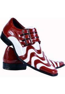 Sapato Social Gofer Copacabana Em Couro Legítimo Masculino - Masculino-Vermelho+Branco