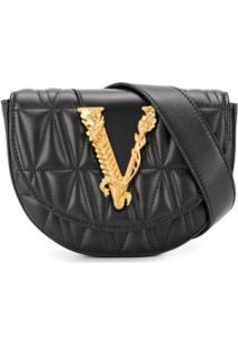 Versace Pochete Matelassê Com Logo - Preto