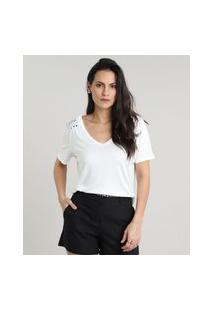 Blusa Feminina Com Tachas Manga Curta Decote Redondo Off White