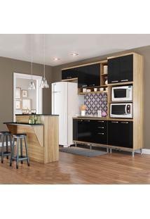 Cozinha Compacta Sem Tampo 11 Portas 3 Gavetas 5843 Argila/Preto - Multimóveis
