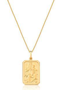 Pingente Escapulário De Ouro 18K Medalha N.S.Carmo E S.C.Jesus