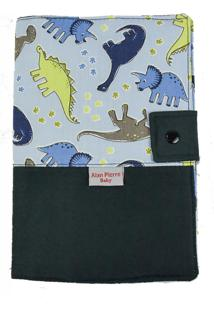 Capa Para Cartão De Vacinação - Alan Pierre Baby - Dinossauro Azul Claro