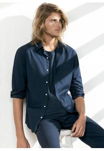 Camisa Básica Masculina Bordada Em Tecido De Algodão Hering