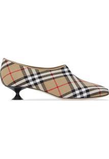 Burberry Sapato Bico Quadrado Xadrez - Archive Beige