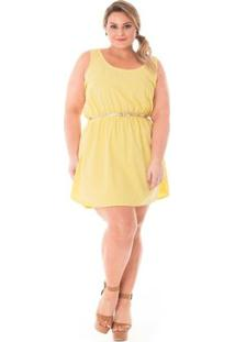 Vestido Confidencial Extra Plus Size Jeans Soltinho Feminino - Feminino-Amarelo
