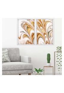 Quadro Com Moldura Chanfrada Mármore Abstrato Dourado Branco - Médio