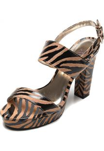 Sandália Amber Zebra Bege