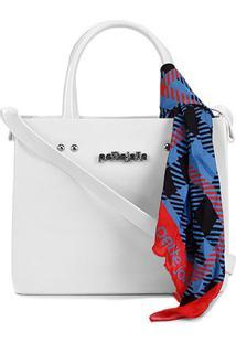 Bolsa Petite Jolie Shopper Stella Bag Feminina - Feminino-Branco+Azul
