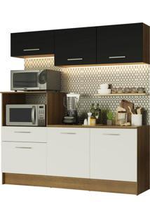 Cozinha Compacta Madesa Onix 180001 Com Armã¡Rio E Balcã£O Marrom - Marrom - Dafiti