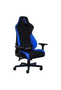 Cadeira Gamer Pcyes Playstation, Até 180Kg Com Almofadas E Inclinação, Preto/Azul - Cadgpsaz